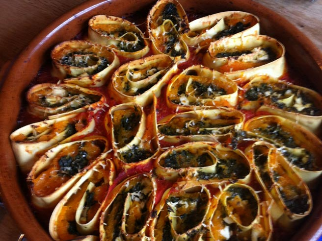 Roasted squash, spinach and feta cheese rotolo