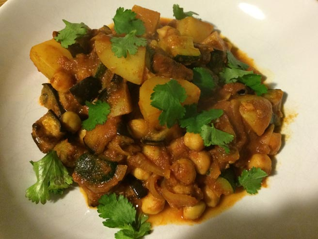 Chickpea and aubergine tagine