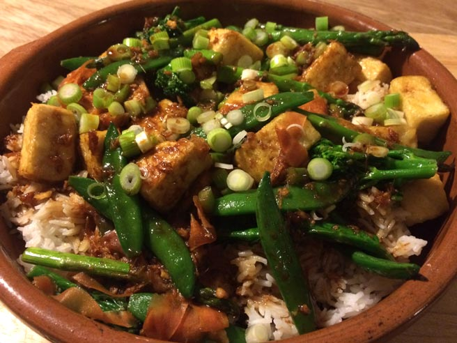 Honey, ginger and tofu stir-fry