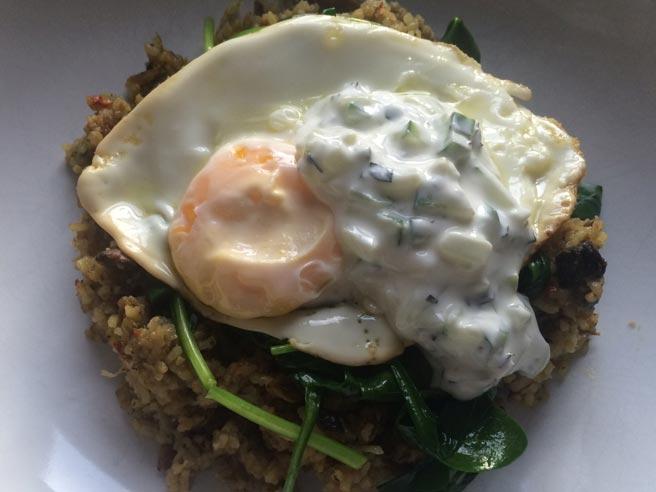 Mushroom biryani and egg