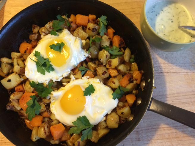 Butternut squash and sweet leek hash