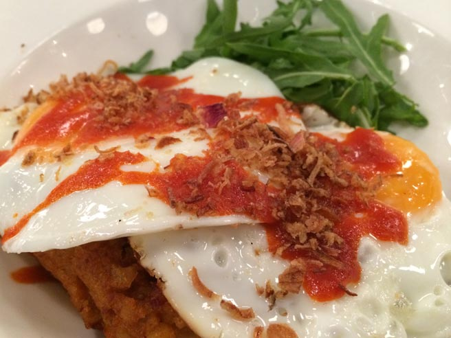 Fried eggs with chorizo hash