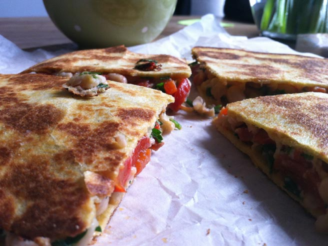 Smoky white bean quesadillas