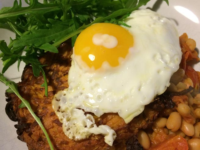 Sweet potato hash and spicy beans
